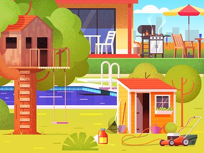Backyard house backyard safety flat design illustration home garden treehouse tree