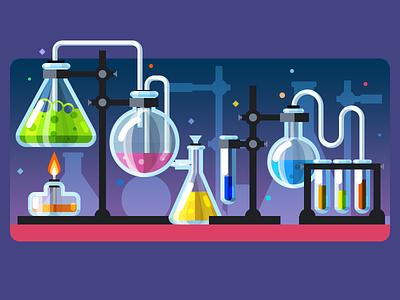 Chemistry lab glass chem chemical illustration tube test design flat laboratory