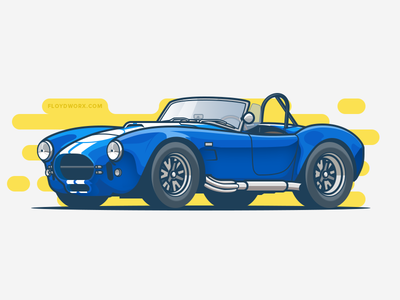 Cobra stroke race design flat illustration car auto vehicle vehicular shelby ac