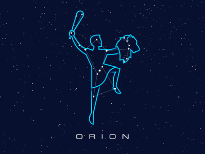 Constellations - Orion star space sky outline map illustration circles