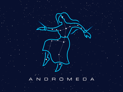 Constellations - Andromeda star space sky outline map illustration circles