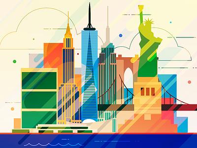 New York - infographic element skyline skyscraper infographic statue liberty house metropolis usa america building city illustration