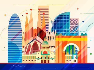 Barcelona - infographic element sight skyline skyscraper sagrada metropolis infographic illustration house city building