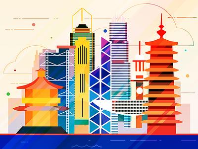 Hong Kong - infographic element capital china skyscraper skyline sight metropolis illustration house city building