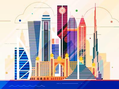 Dubai - infographic element skyscraper skyline sight metropolis illustration house city capital building
