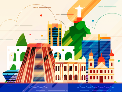 Rio de Janeiro - infographic element jesus skyscraper skyline sight metropolis illustration house city building