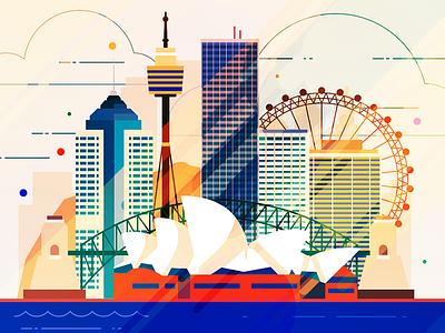 Sydney - infographic element capitol australia skyscraper skyline sight metropolis illustration house city building