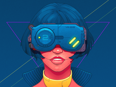 Cyberpunk girl - infographic element affinity 2077 portrait cyborg robot android sci-fi character punk cyber woman glasses illustration anime