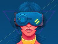 Cyberpunk girl - infographic element