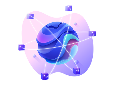 Icon illustration #1 bitcoin cryptocurrency blockchain network design affinity sphere cube gradient server globe abstract