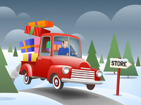 Pickup truck with gifts - infographic element