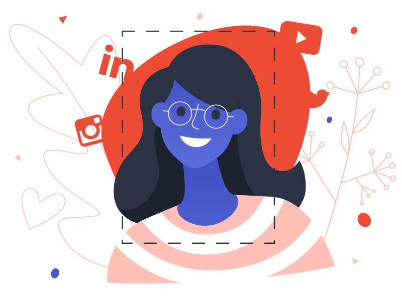 Girl - infographic element blue glasses woman head character design flat illustration media social