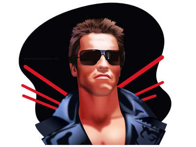 Terminator - infographic element affinity vector portrait movie man male illustration head film face character