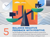 Balance negative feedback with positive - infographic element