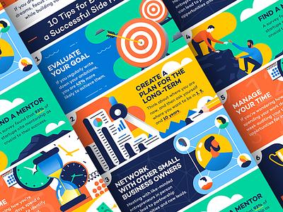Side hustle infographic income money business character design flat illustration job work