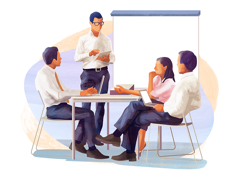 Business team meeting people character texture vector illustration