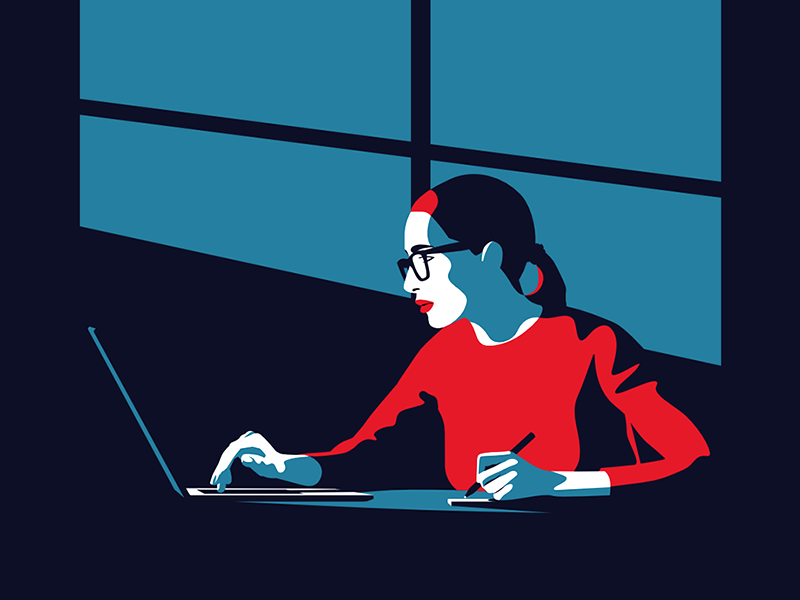 Woman working on her computer - infographic header affinity design girl lady glasses laptop illustration character