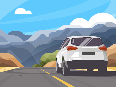 Car on the road - infographic header drive suv sky design flat mountain desert landscape scenery illustration vehicle