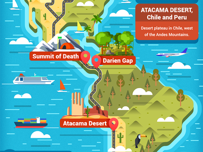 Pan American Highway map - infographic element car road america design flat brazil states united usa us continent illustration