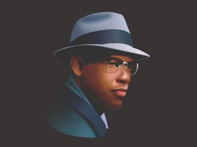 Malcolm X - infographic element design vector portrait movie man male illustration head film face character