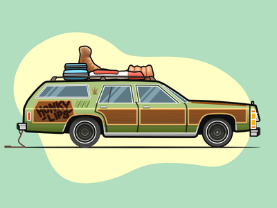 Ford Truckster from National Lampoon's Vacation stroke affinity vehicle wagon estate street road trip comedy flat design film illustration car