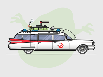 The Ecto-1 from Ghostbusters stroke affinity ambulance car illustration ghost film design flat comedy road street vehicle