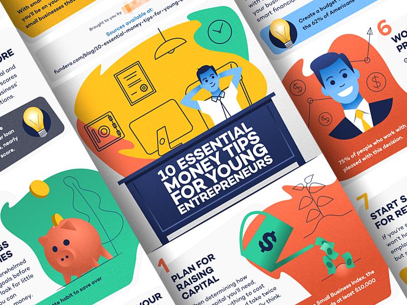 Money tips - infographic portrait character dollar outline lineart flat design gradient noise illustration bank card