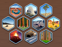 Top 40 National Parks icons #1-10 - infographic elements