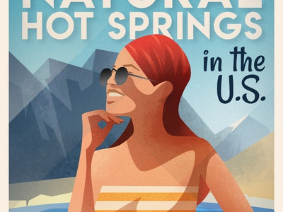 The Best Natural Hot Springs - infographic header affinity art deco design flat gradient mountain scenery landscape vector illustration character portrait woman girl