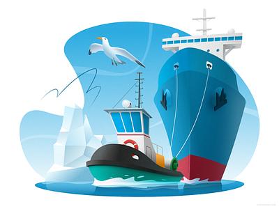 Tugboat towing a ship affinity tanker tug cartoon cargo ocean boat ship sea design vector illustration