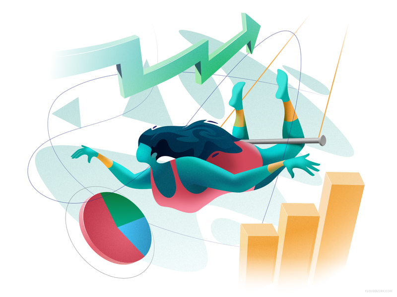 Acrobat swing girl woman circus design bar business chart vector illustration character aerial aerialist