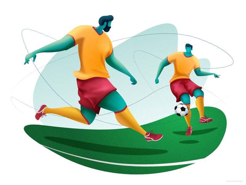 Team play affinity player football stadium field goal team grass ball male man soccer character design cartoon illustration vector