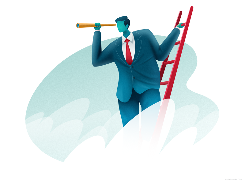 Man with telescope affinity cartoon vector design man business observing illustration character cloud ladder air