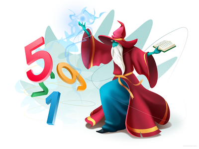 Wizard performing magic affinity book spell magician mage cartoon design vector character illustration
