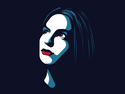 Woman looking in the distance affinity female girl head face portrait design flat vector character illustration