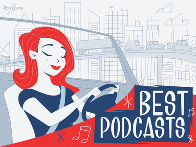 Best podcasts - infographic header stroke midcentury affinity city car line cartoon design flat character portrait woman girl illustration vector