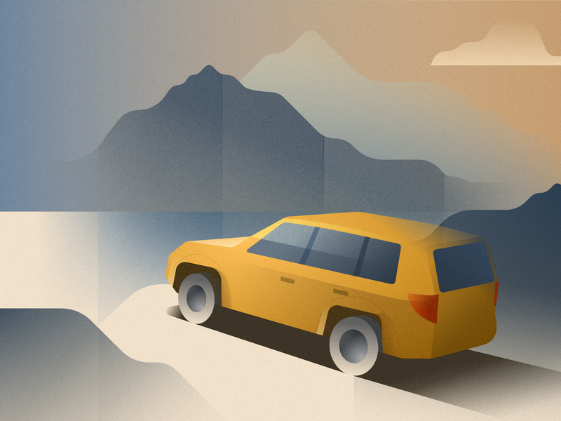 Car on the edge of a cliff - infographic element poster deco art landscape vista cloud sky sea lake mountain scenery jeep suv vehicle vector design illustration