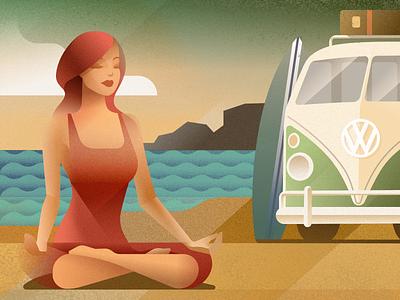 Wellness retreat - infographic header grain van vehicle car girl woman yoga holiday poster beach volkswagen campervan vw deco art portrait design character vector illustration