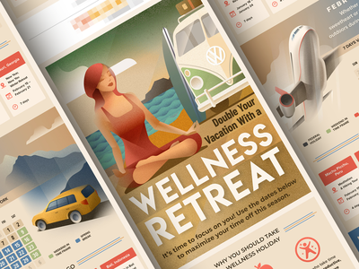 Wellness retreat - infographic affinity poster summer beach deco art holiday vehicle car airplane vw campervan yoga woman portrait design vector character illustration