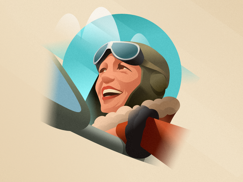 Amelia Earhart - infographic element affinity poster deco art plane airplane girl woman head face portrait design vector character illustration