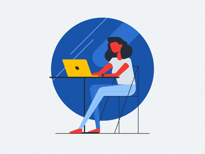 Woman sitting in a Cafe affinity line working chair table laptop computer portrait flat design vector character illustration