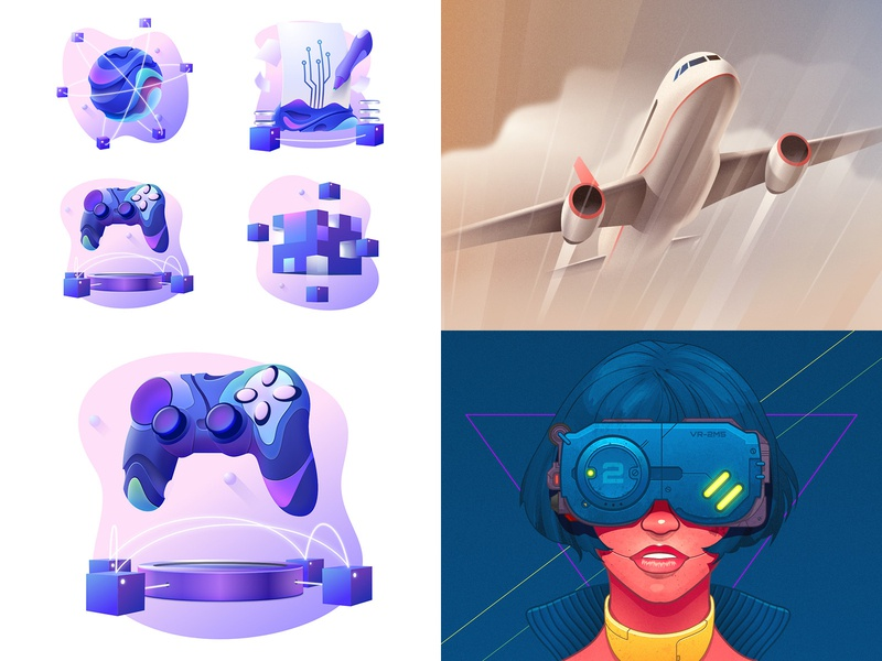 Best of 2018 affinity woman girl goggle blockchain bitcoin gradient controller punk cyberpunk airplane head face portrait design vector character illustration