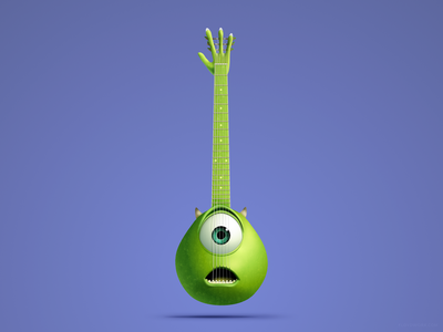 Mike Wazowski Guitar affinity pixar portrait face pickup cartoon animation inc monsters string electric acoustic gradient design vector illustration
