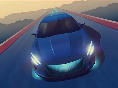 Electric car - infographic header ae affinity road tesla car animation vehicle design vector illustration