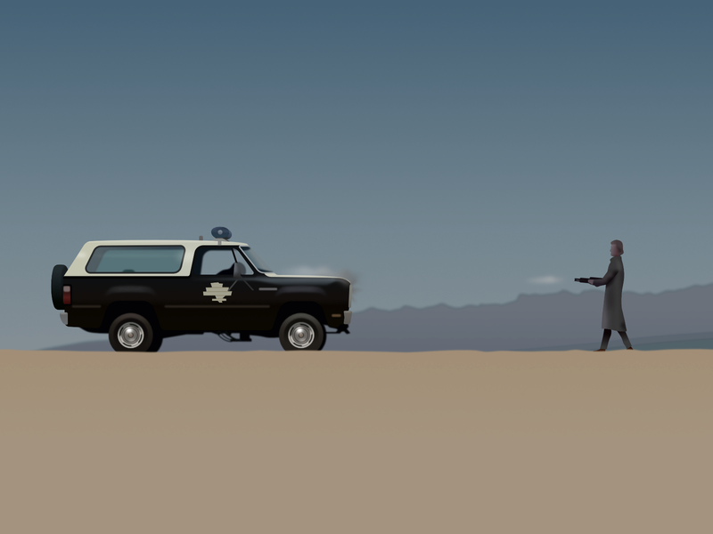 Scene from The Hitcher thriller movie film desert police shotgun gun vehicle car affinity design character vector illustration