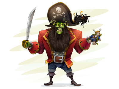 LeChuck, the zombie pirate stroke video threepwood guybrush pirate dos game adventure island monkey comic cartoon affinity design character vector illustration