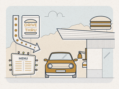 Drive-Thru - infographic header stroke design meal road affinity vector hamburger illustration food fast restaurant vehicle car