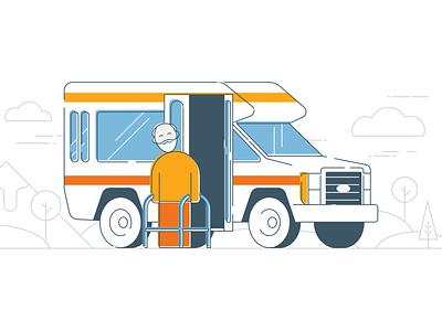 Transportation service for seniors stroke misprint man old line art vector illustration design van vehicle car affinity