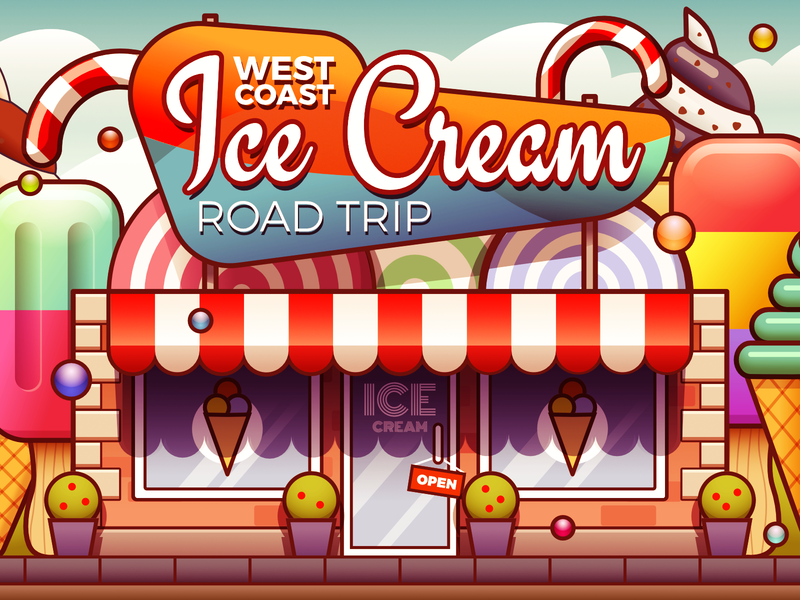 Ice Cream Shop - infographic header stroke vector affinity ouline lollipop design illustration building sweets candy