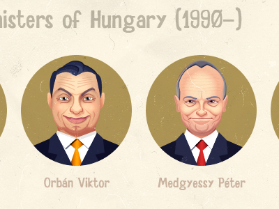 Prime ministers of Hungary since 1990 infographics cartoon caricature pen tool vector texture prime minister